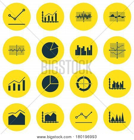 Set Of Graphs, Diagrams And Statistics Icons. Premium Quality Symbol Collection. Icons Can Be Used For Web, App And UI Design.