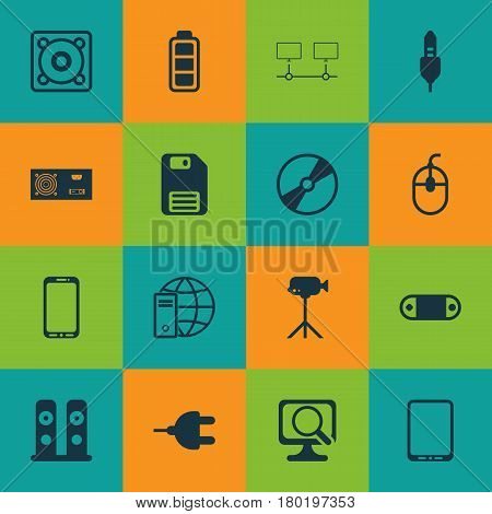 Set Of 16 Computer Hardware Icons. Includes Camcorder, Laptop, Power Generator And Other Symbols. Beautiful Design Elements.
