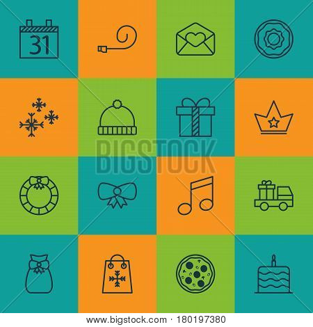Set Of 16 New Year Icons. Includes Crotchets, Gift, Butterfly Knot And Other Symbols. Beautiful Design Elements.