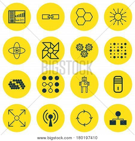 Set Of 16 Robotics Icons. Includes Related Information, Variable Architecture, Radio Waves And Other Symbols. Beautiful Design Elements.