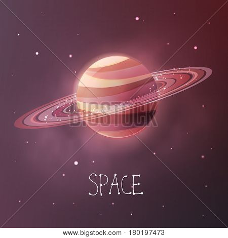 Planet with planetary rings in dull colors. Space vector illustration in modern contemporary design. For card banner cover.