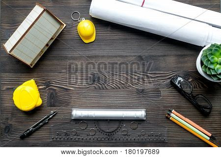 architect office with tools in profession concept on wooden desk background top view mock up