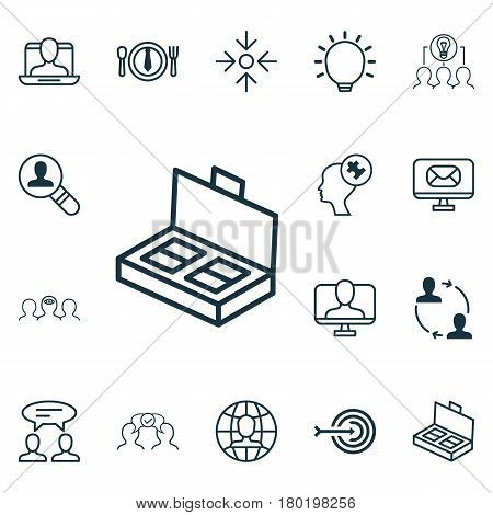 Set Of 16 Business Management Icons. Includes Cooperation, Great Glimpse, Arrow And Other Symbols. Beautiful Design Elements.