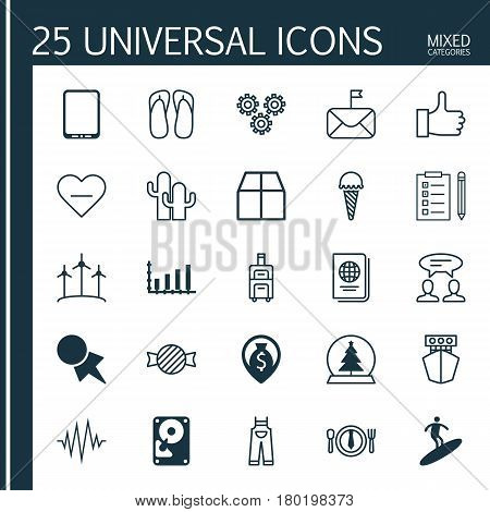 Set Of 25 Universal Editable Icons. Can Be Used For Web, Mobile And App Design. Includes Elements Such As Recommended, Magic Sphere, Significant Letter And More.
