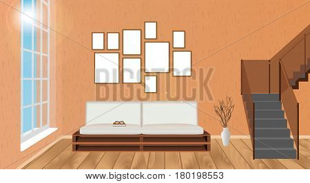 Mockup living room interior with empty frames sofa parquet flooring second floor stairway and sun glowing. Vector illustration.