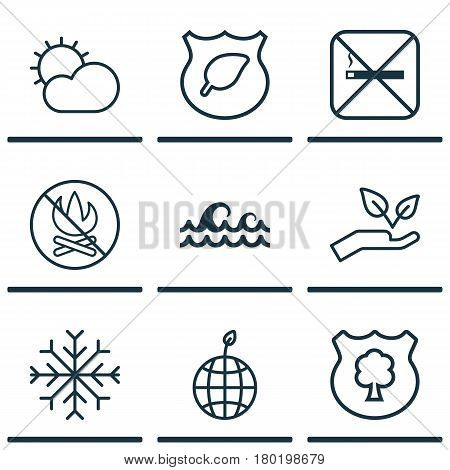 Set Of 9 Eco-Friendly Icons. Includes Clear Climate, Fire Banned, Save World And Other Symbols. Beautiful Design Elements.