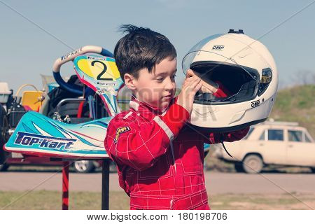 Odessa, Ukraine - April 2, 2017: Competitions On The Picture, Pilots In Helmet And In Racing Clothes