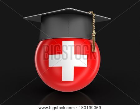 3D Illustration. Graduation cap and Swiss flag. Image with clipping path
