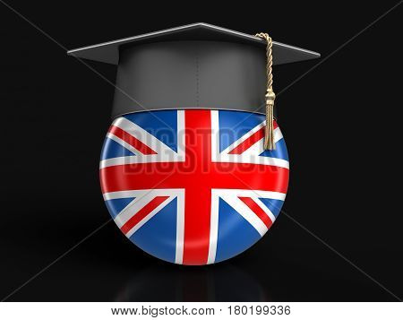 3D Illustration. Graduation cap and UK flag. Image with clipping path