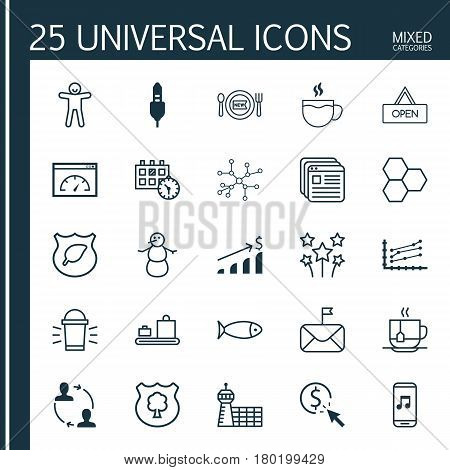 Set Of 25 Universal Editable Icons. Can Be Used For Web, Mobile And App Design. Includes Elements Such As Festive Fireworks, Baggage Carousel, Tea And More.