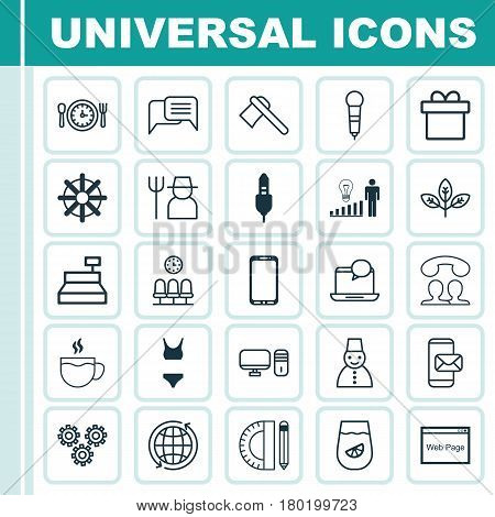 Set Of 25 Universal Editable Icons. Can Be Used For Web, Mobile And App Design. Includes Elements Such As Mail Notification, Microphone, Tomahawk And More.