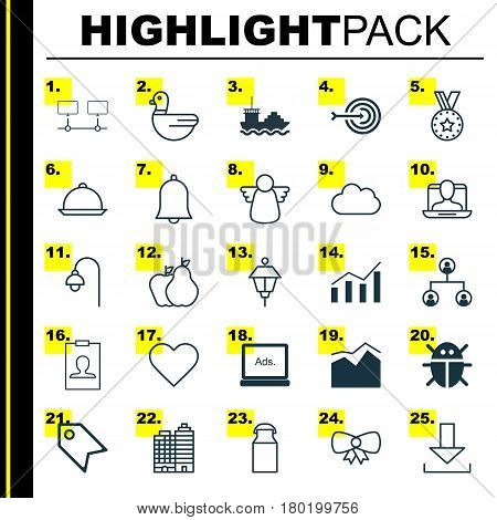 Set Of 25 Universal Editable Icons. Can Be Used For Web, Mobile And App Design. Includes Elements Such As Connected Devices, Lamppost, Beetle And More.