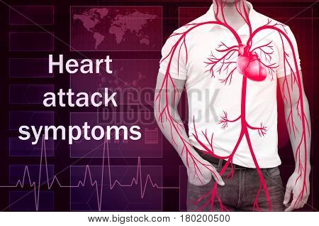 Health care concept. Text HEART ATTACK SYMPTOMS and man on background