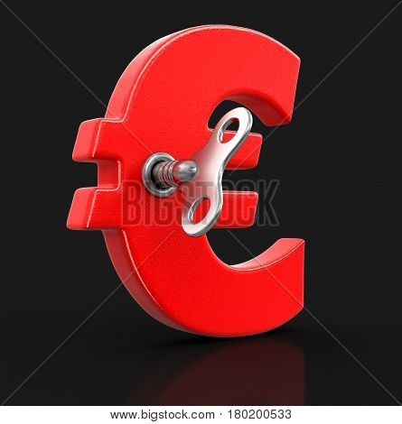 3D Illustration. Euro Sign with winding key. Image with clipping path