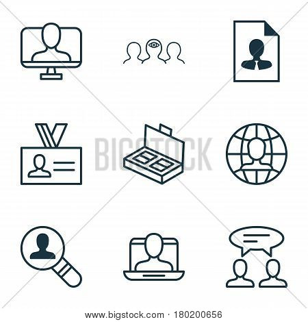 Set Of 9 Business Management Icons. Includes Open Vacancy, Authentication, Dialogue And Other Symbols. Beautiful Design Elements.