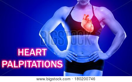 Health care concept. Text HEART PALPITATIONS and woman on background