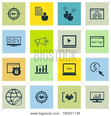 Set Of 16 SEO Icons. Includes Report, Website, Media Campaign And Other Symbols. Beautiful Design Elements.