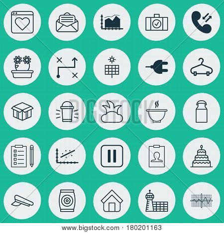 Set Of 25 Universal Editable Icons. Can Be Used For Web, Mobile And App Design. Includes Elements Such As Connector, Range Line Graph, Sun Power And More.