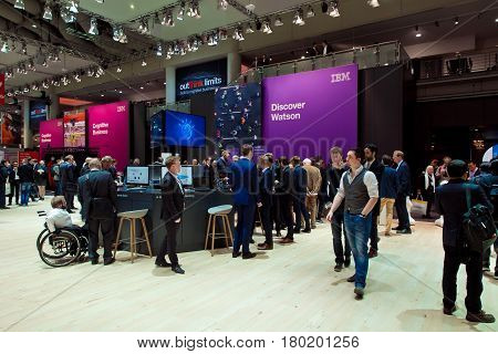 Hannover, Germany - March, 2017: IBM company stand interior on exhibition Cebit 2017 in Hannover Messe, Germany