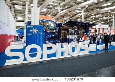 Hannover, Germany - March, 2017: Sophos Next-gen ceber security company stand interior on exhibition Cebit 2017 in Hannover Messe, Germany