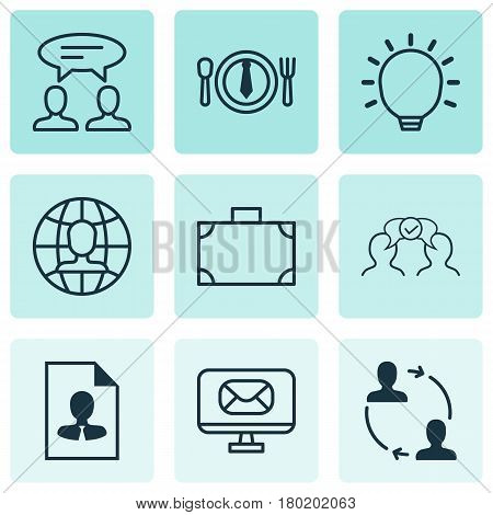 Set Of 9 Business Management Icons. Includes Cooperation, Great Glimpse, Cv And Other Symbols. Beautiful Design Elements.