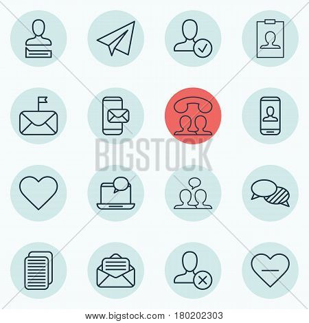 Set Of 16 Communication Icons. Includes Read Message, Phone Messaging, Identity Card And Other Symbols. Beautiful Design Elements.