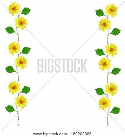 Bright yellow flower dahlias border frame isolated on white background.