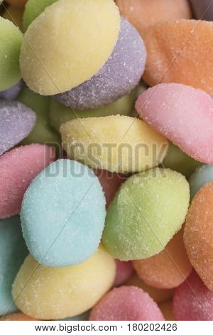Easter gummy egg candies in pink blue orange yellow purple pink and green