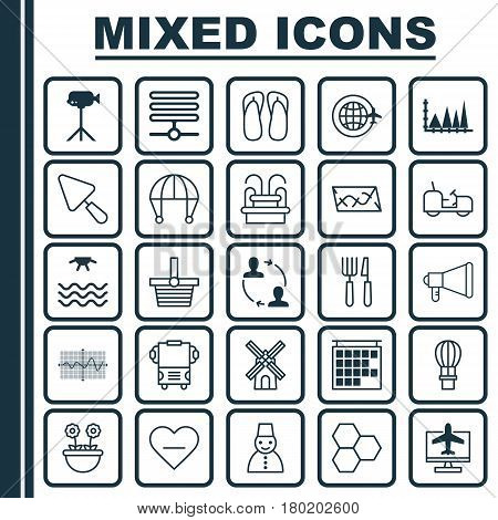 Set Of 25 Universal Editable Icons. Can Be Used For Web, Mobile And App Design. Includes Elements Such As Herb, Route, Agrimotor And More.