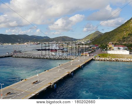 St Martin Dock, Caribbean Docking pier in Philipsburg, St. Martin