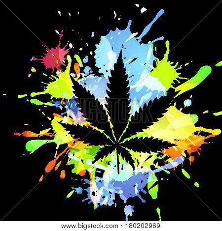 Medical marijuana Cannabis, vector silhouette illustration. ink blots