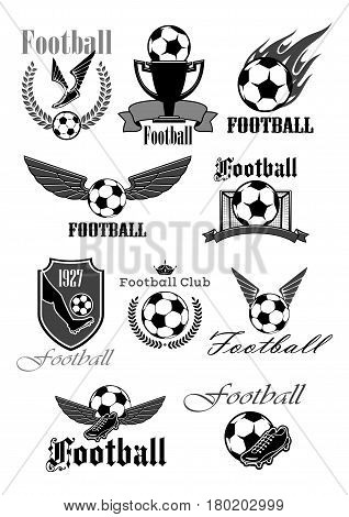 Football or soccer sport club symbol set. Football or soccer ball, gate, boots and champion trophy cup with ribbon banner, heraldic shield and laurel wreath, decorated with wing, flame and crown