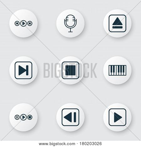 Set Of 9 Music Icons. Includes Stop Button, Audio Buttons, Skip Song And Other Symbols. Beautiful Design Elements.
