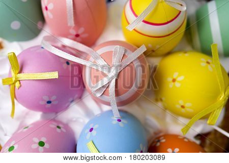 high-angle shot of a pile of different decorated easter eggs
