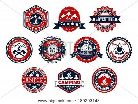 Camping site and outdoor adventure badge set. Mountain and forest campground stamp label with campfire, tent, compass, axe, shovel and ribbon banner. Travel, tourism, exploration or expedition design