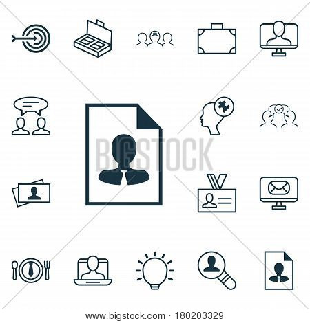 Set Of 16 Business Management Icons. Includes Portfolio, Cv, Document Suitcase And Other Symbols. Beautiful Design Elements.