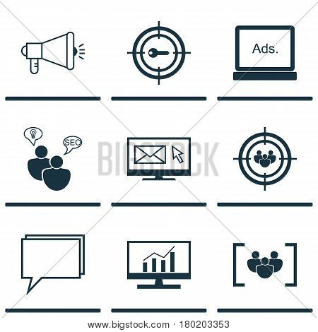 Set Of 9 SEO Icons. Includes Media Campaign, Keyword Marketing, Questionnaire And Other Symbols. Beautiful Design Elements.