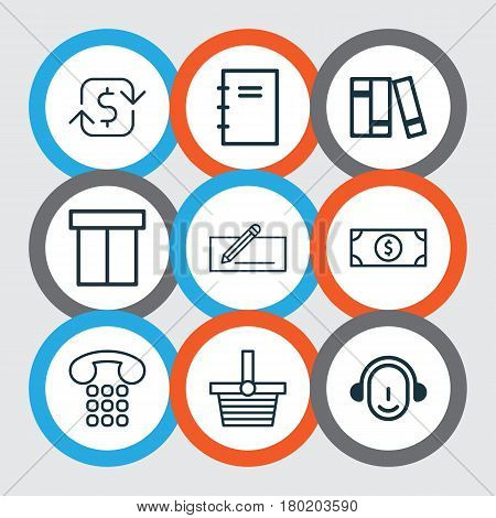 Set Of 9 Commerce Icons. Includes Bookshelf, Money Transfer, Recurring Payements And Other Symbols. Beautiful Design Elements.