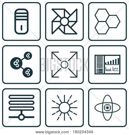Set Of 9 Robotics Icons. Includes Atomic Cpu, Branching Program, Algorithm Illustration And Other Symbols. Beautiful Design Elements.