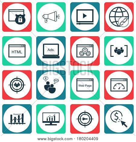 Set Of 16 Advertising Icons. Includes Questionnaire, Web Page Performance, Loading Speed And Other Symbols. Beautiful Design Elements.