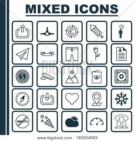 Set Of 25 Universal Editable Icons. Can Be Used For Web, Mobile And App Design. Includes Elements Such As Curriculum Vitae, Pinpoint, Landscape.