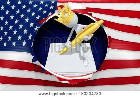 King Of America Executive Orders The Original 3D Character Illustration