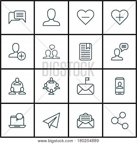 Set Of 16 Social Network Icons. Includes Startup, Publication, Teamwork And Other Symbols. Beautiful Design Elements.