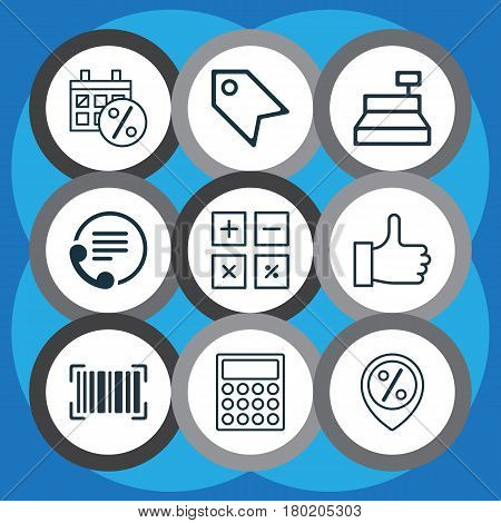 Set Of 9 Ecommerce Icons. Includes Telephone, Discount Location, Identification Code And Other Symbols. Beautiful Design Elements.