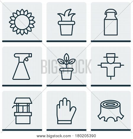 Set Of 9 Holticulture Icons. Includes Bush Pot, Helianthus, Protection Mitt And Other Symbols. Beautiful Design Elements.