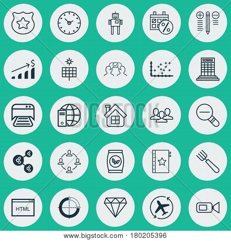 Set Of 25 Universal Editable Icons. Can Be Used For Web, Mobile And App Design. Includes Elements Such As Cyborg, Sun Power, Black Friday And More.