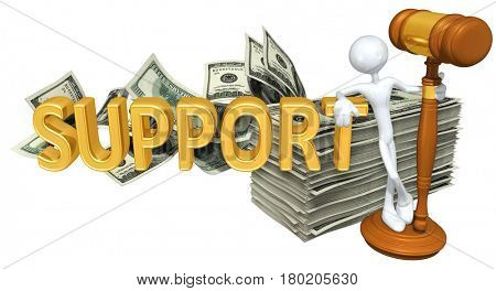 The Original 3D Character Illustration With A Gavel Leaning On The Word Support