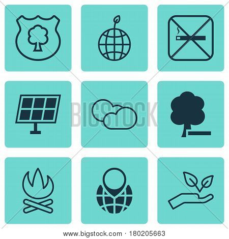 Set Of 9 Eco Icons. Includes World Ecology, Cloud Cumulus, Delete Woods And Other Symbols. Beautiful Design Elements.