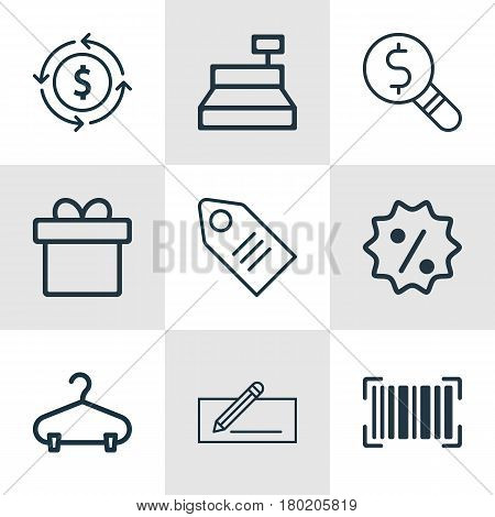 Set Of 9 Commerce Icons. Includes Finance, Ticket, Money Transfer And Other Symbols. Beautiful Design Elements.