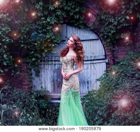 Red-haired girl fairy fairy lights and magic door